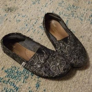 Toms Paisley Fabric Silver and Black Slip Ons